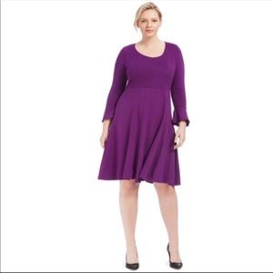 Eloquii Seamed Purple Fit And Flare Dress